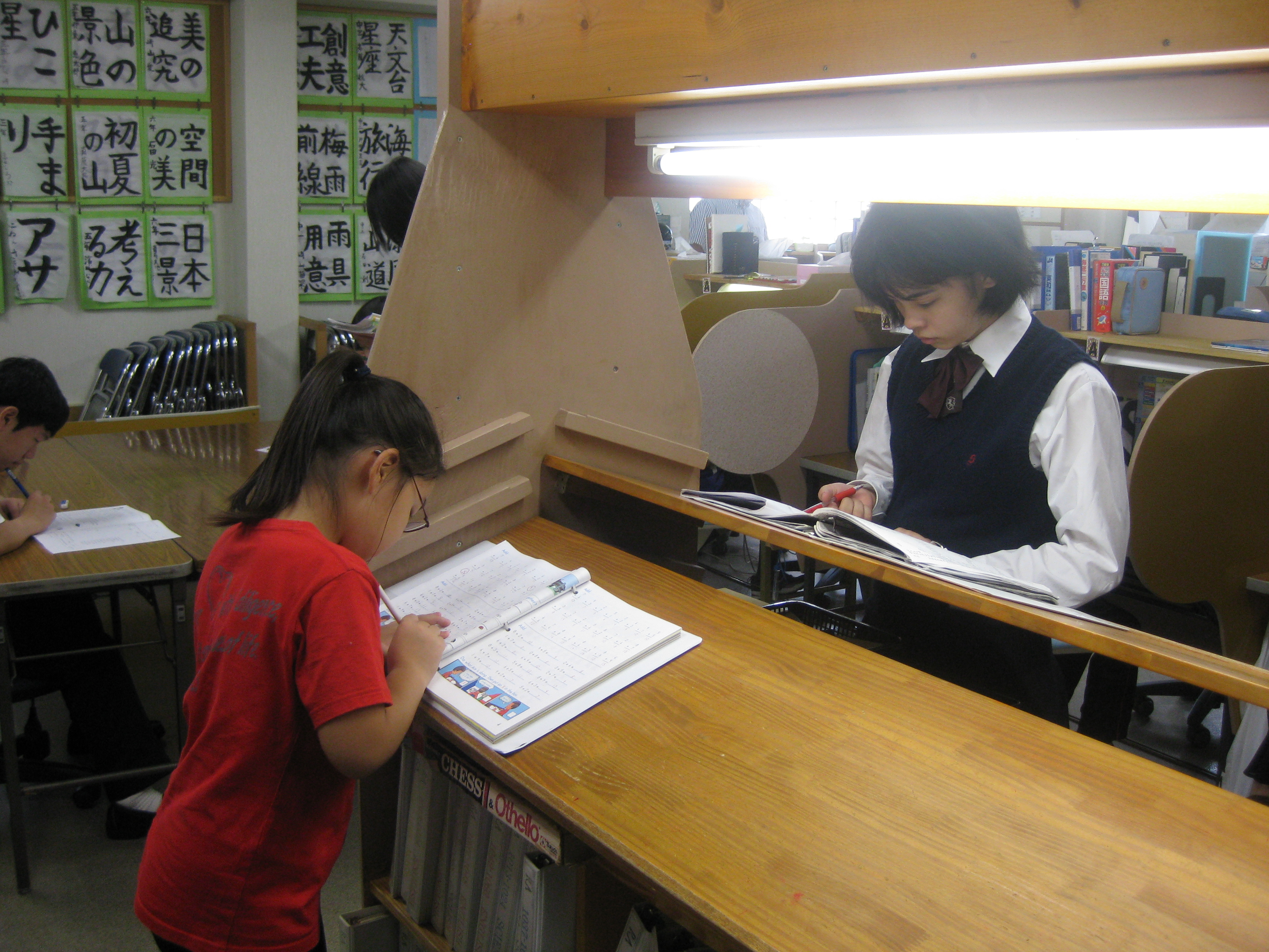 Students checking their work